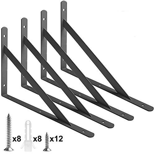 (Acrux7 Heavy Duty Shelf Brackets, Floating Shelves Tripod Triangle Shelf Brackets, 90 Degree Angle Wall Mounted Shelf Supporter Bracket Frame)