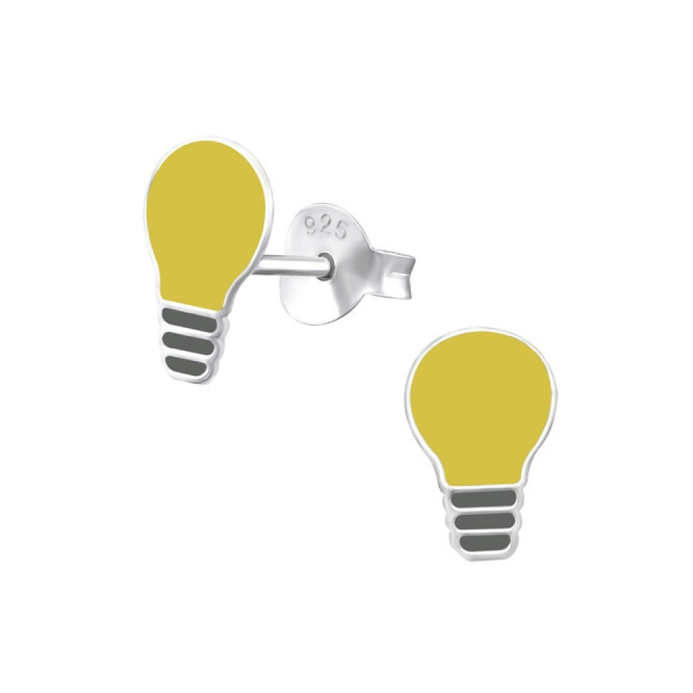 Sterling Silver Children's Light Bulb Stud Earrings with Epoxy