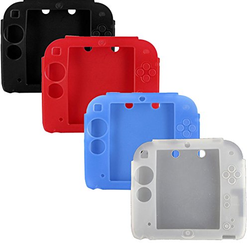 Lilyy 4Packs Protective Soft Silicone Rubber Gel Skin Case Cover for Nintendo 2DS (black,white,blue,red)