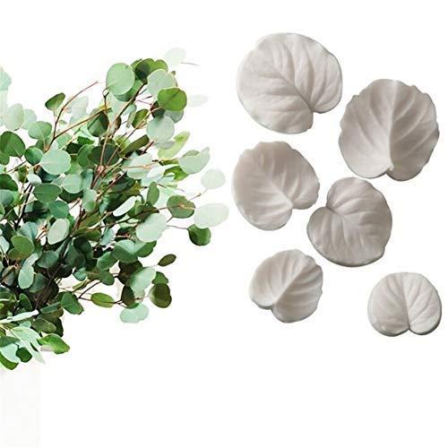 6pcs Eucalyptus Leaves Cake Silicone Mold Fondant Mould wedding Pastry Cake Decorating Tools Chocolate Gumpaste Sugarcraft Soap Cupcake Mold,Cake Boder Decoration Stencil Form, Kitchen Baking - Wedding Gumpaste Cake