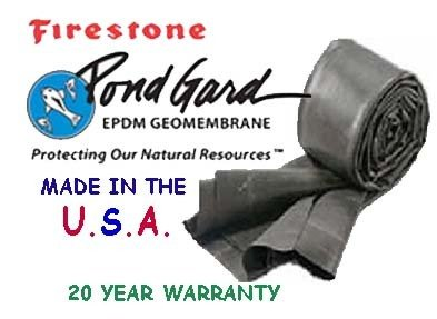 Firestone 12' X 15' EPDM Rubber 45 ml POND LINER-water garden-pool-Fish safe!