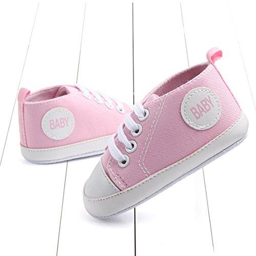 QZBAOSHU Säuglingskleinkind Erste Wanderer Schuhe Weiche Untere Segeltuch-Schuhe für Baby-Mädchen-Baby-Jungen Rosa