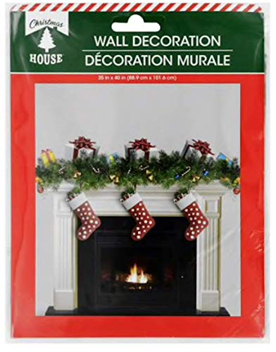Christmas Mural - Christmas Party Fun Scenic Backdrop Scene Setter Decor Wall Decoration Mural (Christmas Fireplace 35 x 40)
