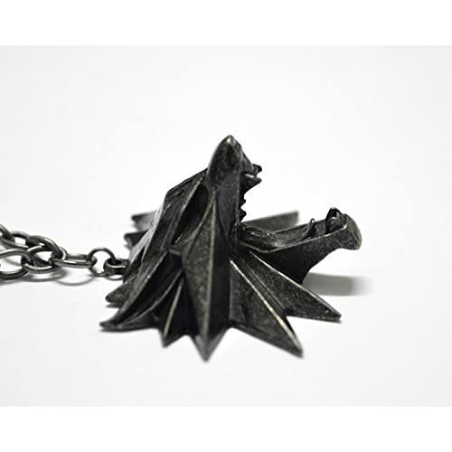 The Witcher 3 Wild Hunt Wolf Head Necklace Pendant by Lanrui