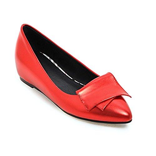 De Superior Planos Rojo Poco Mujer Boca Profesional de Zapatos Zapatos Profunda Acentuada tacón Zapatos Cabeza De PU Zapatos Trabajo Bajo vt4yq