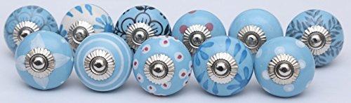 (10 Light Sky Blue Ceramic Door Knobs Handmade Handpainted Door Knobs Kitchen Cabinet Drawer Pulls)