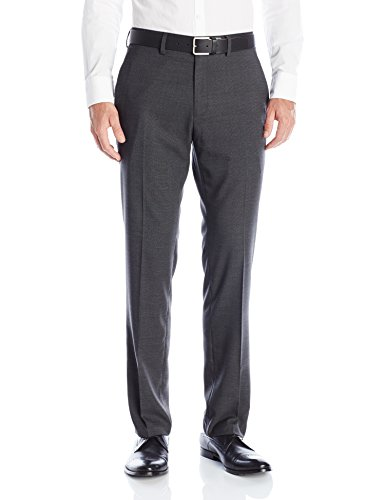 Gray Dress Charcoal Pants (Kenneth Cole REACTION Men's Textured Plaid Flat Front Slim Fit Dress Pant, Charcoal Heather, 30x30)