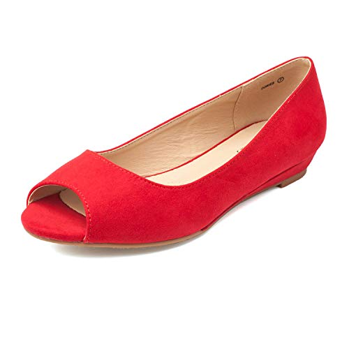 DREAM PAIRS Women's Dories Red Suede Low Wedge Peep Toe Flats Shoes Size 7.5 M US
