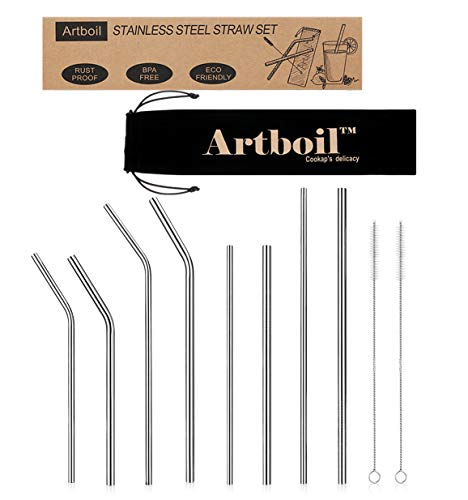 Artboil Premium Stainless Steel Straws Set of 8 for 30oz 20oz Tumblers Cups Mugs - 18/8 Steel -Reusable Metal Drinking Straw w/2 Cleaning Brush for 30 20 ounce