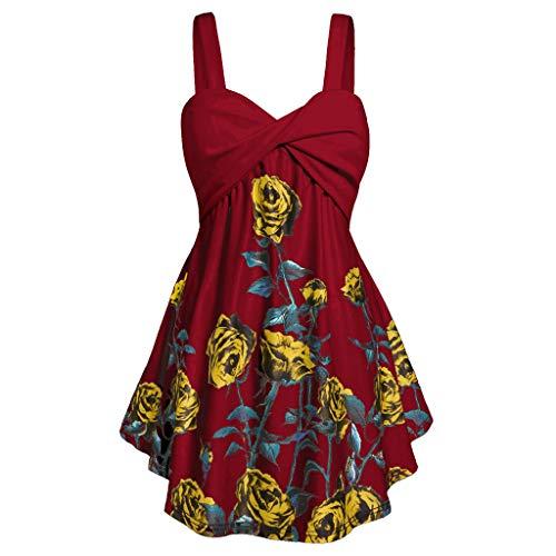 (Plus Size Women Sling Tops Vintage Floral Printed Cross V-Neck Sleeveless Casual Irregular Blouse XL-5XL)