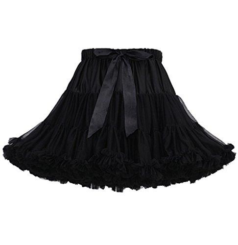 Jupe Tutu Femme Jupon Tulle Fille Adulte Dguisement Tutu Danse Bouffante Jupe Froufrou Jupes Tulles Pettiskirt Deguisement Classique Courte Petticoat Ruffle Princesse Ballet Noir