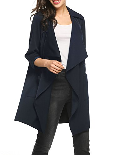 Lightweight Silk Coat (Zeagoo Women's Casual Long Sleeve Lapel Open Cardigan Lightweight Trench Coat)
