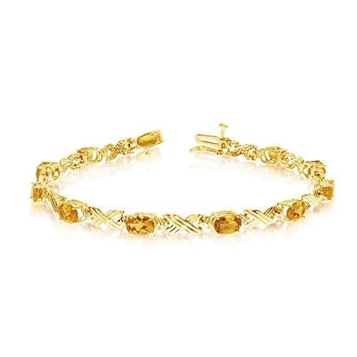 (3.41 Carat (ctw) 10k Yellow Gold Oval Yellow Citrine and Diamond 'X' Link Tennis Bracelet - 7