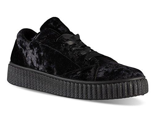 af3f9b6f179 Twisted Women s Olivia Velvet Platform Creeper Fashion Sneaker - OLIVIA02  Black