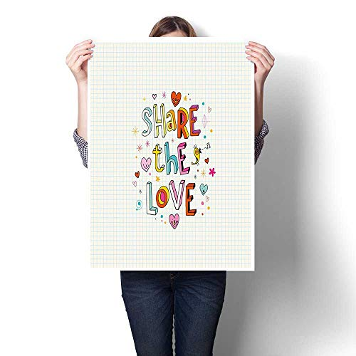 Antufour Love Canvas Print Wall Art Share The Love Cheerful Childish Quote Smiling Hearts Singing Bird Notebook Page Style Abstract Painting 24