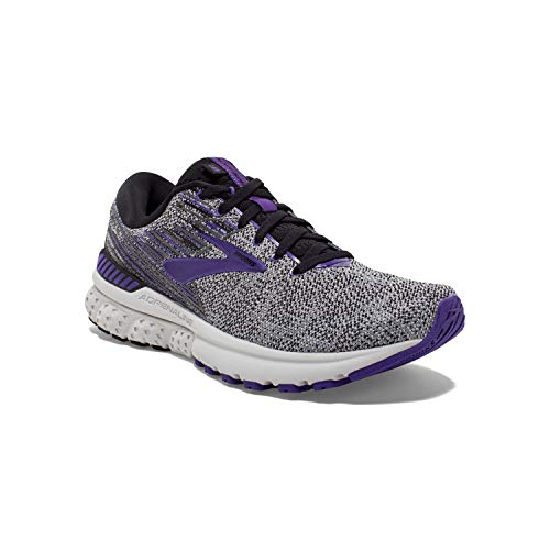 Brooks Womens Adrenaline GTS 19 Running Shoe - Black/Purple/Grey - B - 7.5