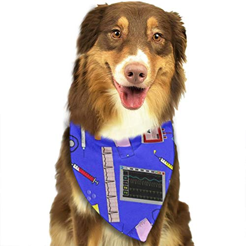 ANYWN Pet Dog Bandanas Triangle Bibs Scarfs Hospital Nurse Theme Royal Blue Accessories for Puppies Cats Pets Animals Large -