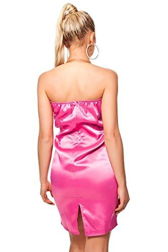 Bandeau vestido Mini vestido–Pencil funda en satén Look con Deko lazo–Negro Rojo Rosa Talla S, M, L (01241285) Rosa