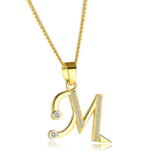 YOUFENG Initial Alphabet Pendant Necklace 18K Gold Plated A-Z Letter Cubic Zirconia Personalized Necklaces Gift for Women Fashion Jewelry - Pendant Crystal Initial