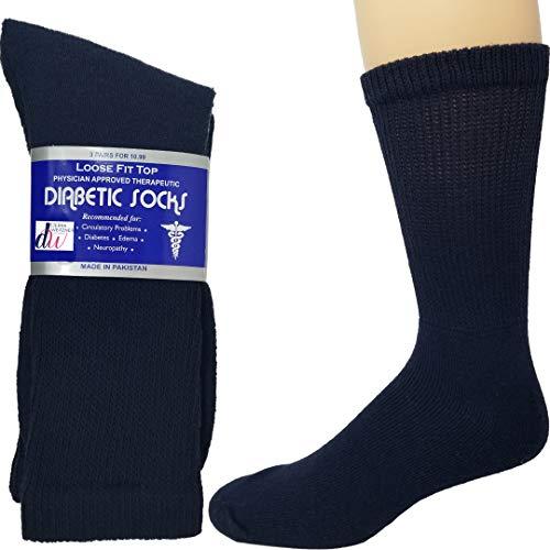 Diabetic Socks Mens Cotton 12-Pack Crew Navy Blue By DEBRA WEITZNER Size 10-13
