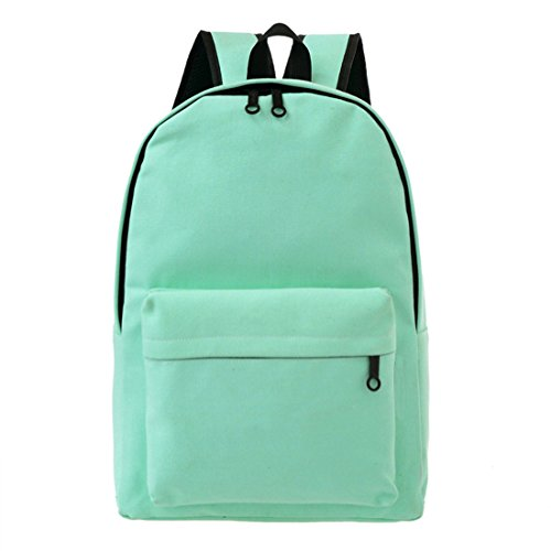 UPRetailer Classic Simple School Book Bag Casual Travel Daypacks Canvas Backpacks Unisex in Mint Green