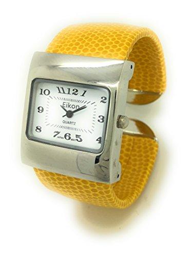 Ladies Snakeskin Leather Bangle Cuff Watch Square Case White Dial Eikon (Yellow)