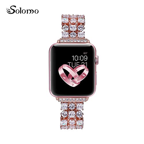 Watch Diamonds 20 Womens (Solomo Compatible for Apple Watch Band 40mm 38mm, Luxury Diamond Jewelry Loop Stainless Steel Metal Quick Replacement Strap with Adjustable Buckle for Iwatch Series 4 / Series 3 / Series 2/1 (Rose))