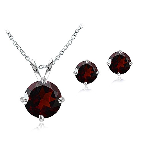Sterling Silver Garnet Round Solitaire Necklace & Stud Earrings Set