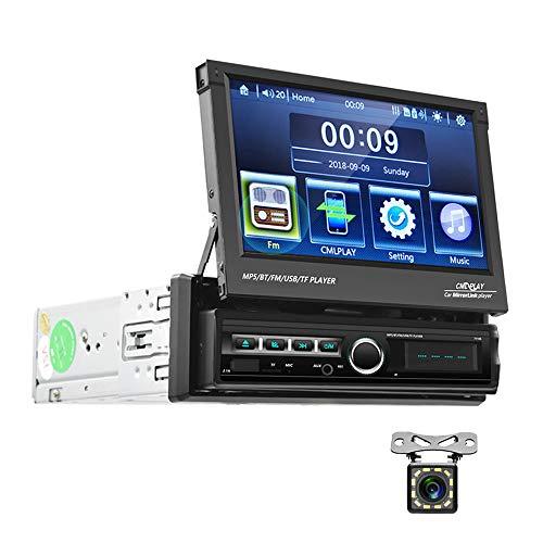 Radio de Coche 1 DIN Bluetooth CAMECHO Pantalla tactil Plegable de 7 Pulgadas Radio FM con USB AUX-in Ranura para Tarjeta SD iOS Telefono Android Enlace Espejo + Camara de vision Trasera