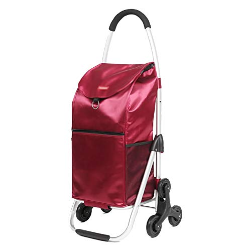 ZHAOHUI ショッピングカート 折りたたみ可能 アルミニウム合金 防水 オックスフォード布 クライミングビルディング カーブドハンドル ラバーホイール 耐摩耗性、 3色 (色 : Red)  Red B07L6JNR9Q