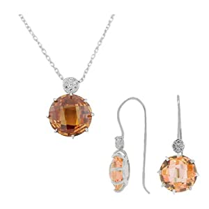 925 Sterling Silver Brown CZ Charm Pendant Necklace Earrings Set
