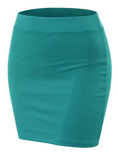 Doublju Stretch Knit Bodycon Mini Skirt for Women with Plus Size Jade X-Large
