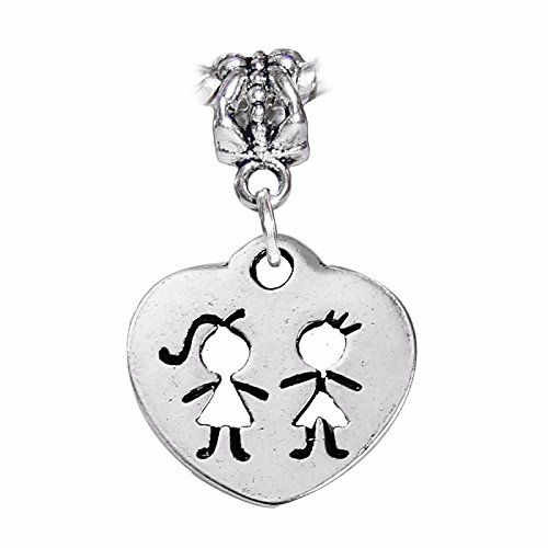 Twins Cutout Boy Girl Heart Brother Sister Dangle Charm for European Bracelets Crafting Key Chain Bracelet Necklace Jewelry Accessories Pendants (Eagle Cut Pendant Out)