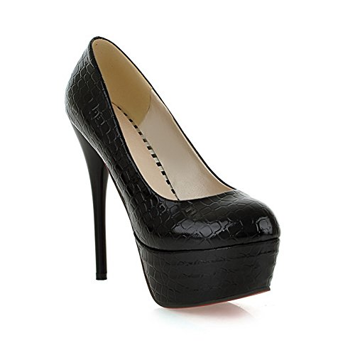 Shoes Pumps Platform BalaMasa Stone Pattern Stiletto Leather Black Imitated Girls Fvv0xw8