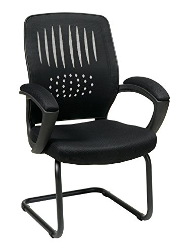 Office Star Screen Back Over Designer Contour Shell Visitors Chair with Mesh Seat, Padded Mesh Arms, and Sled Base, Black