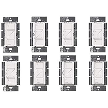 Lutron PD-6WCL-WH Caseta Wireless Smart Lighting Dimmer Switch, White (8 Pack)