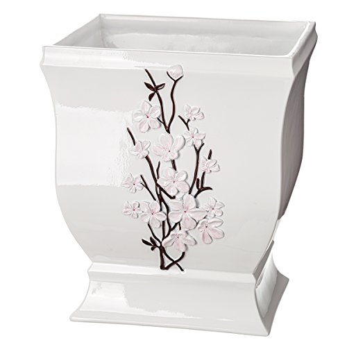 Creative Scents Vanda Bathroom Trash Can, Decorative Wastebasket- Resin Waste Paper Baskets- Cool Fashion Design- Space Friendly Bath Rubbish Dust Bin (Beautiful Contemporary Counter)