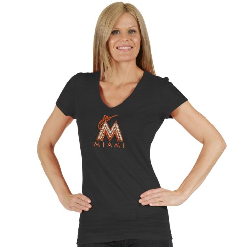 MLB Miami Marlins Women's Tri Blend Multi Count V Neck Tee, X-Large, Black