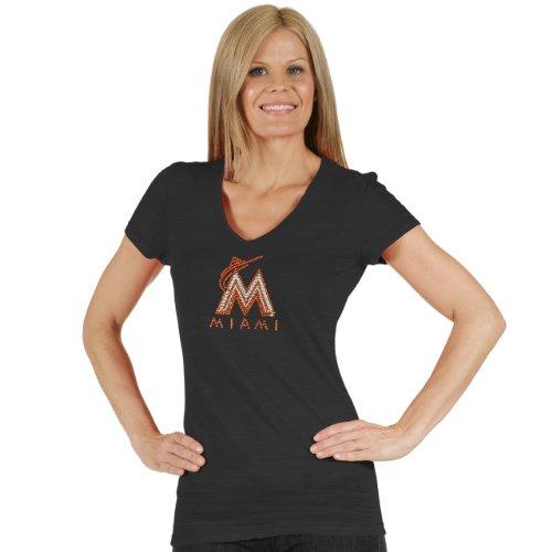 MLB Miami Marlins Women's Tri Blend Multi Count V Neck Tee, X-Large, Black
