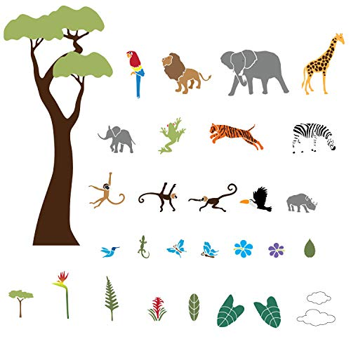 My Wonderful Walls Jungle Wall Stencils for Jungle Theme Wall Mural for Baby Room
