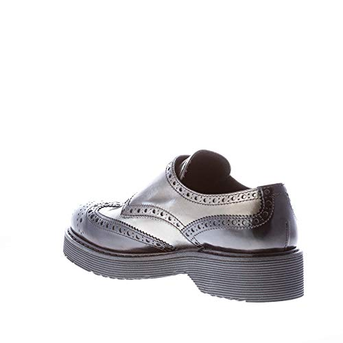 Grey Women Leather Shoes Strap and Monk Black Polished Wingtip Grey Prada Double xACSqw7x