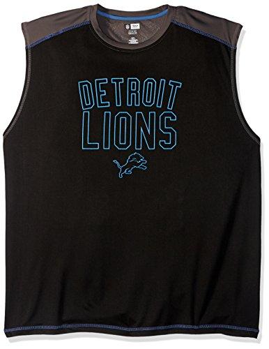 Profile Big & Tall NFL Detroit Lions Adult Men NFL Plus S/Synthetic Muscle,3XT,Storm Grey/Black