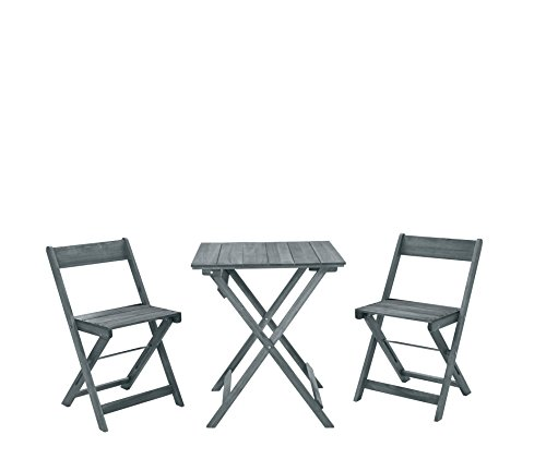 Linon 3-Pc Rockport Square Table Set in Gray ()