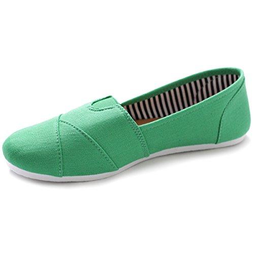 Zapato De Lona Ollio Para Mujer Sobre Lienzo Sneaker Flat Green
