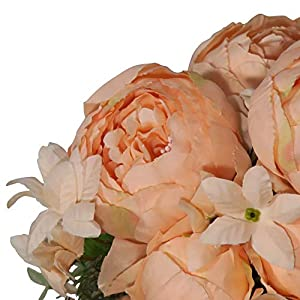 EZFLOWERY 2 Pack Artificial Peony Silk Flowers Arrangement Bouquet for Wedding Centerpiece Room Party Home Decoration, Elegant Vintage, Perfect for Spring, Summer and Occasions (2, Light Orange) 3