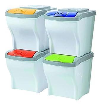 Cubo de basura para reciclaje POKER SET 4 X 20 piezas de bajo Bama ...