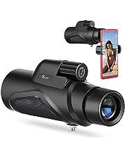 Telmu Monokular teleskop 12X50 mit Smartphone-Adapter BAK4 Prisma FMC Mo nokular-Zielfernrohr Wasserdicht Fogproof Einzel-Hand-Fokus Monokulars für Vogelbeobachtung Jagd Camping