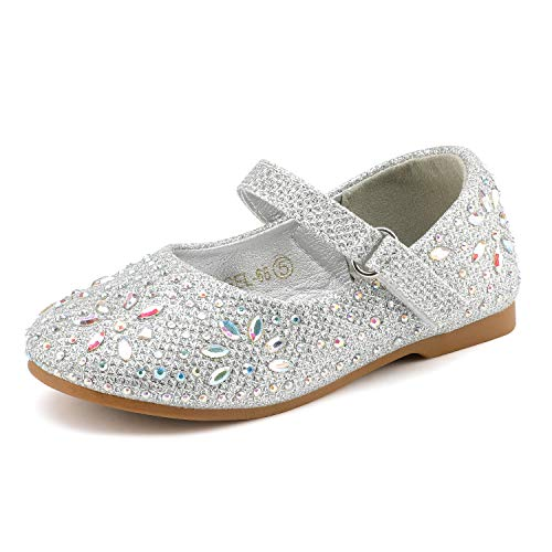 DREAM PAIRS ANGEL-66 Mary Jane Rhinestone Embelishment Throughout Ballerina Flat Silver 7 M US Toddler