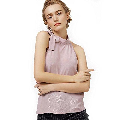LI SHI XIANG SHOP Sommer ärmelloses Chiffon Hemd Damen Bowknot Blause (Farbe   Rosa, größe   M)