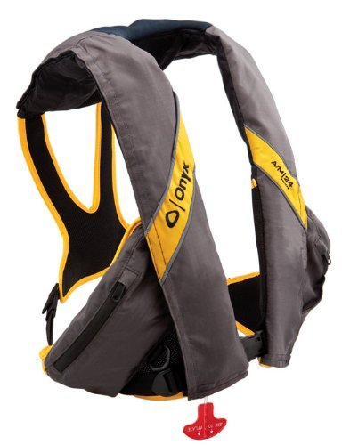 - Onyx Outdoor A/M-24 Deluxe Auto/Manual Inflatable Life Jacket, Carbon/Yellow- 132100-701-004-15